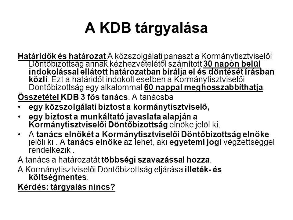A KDB tárgyalása