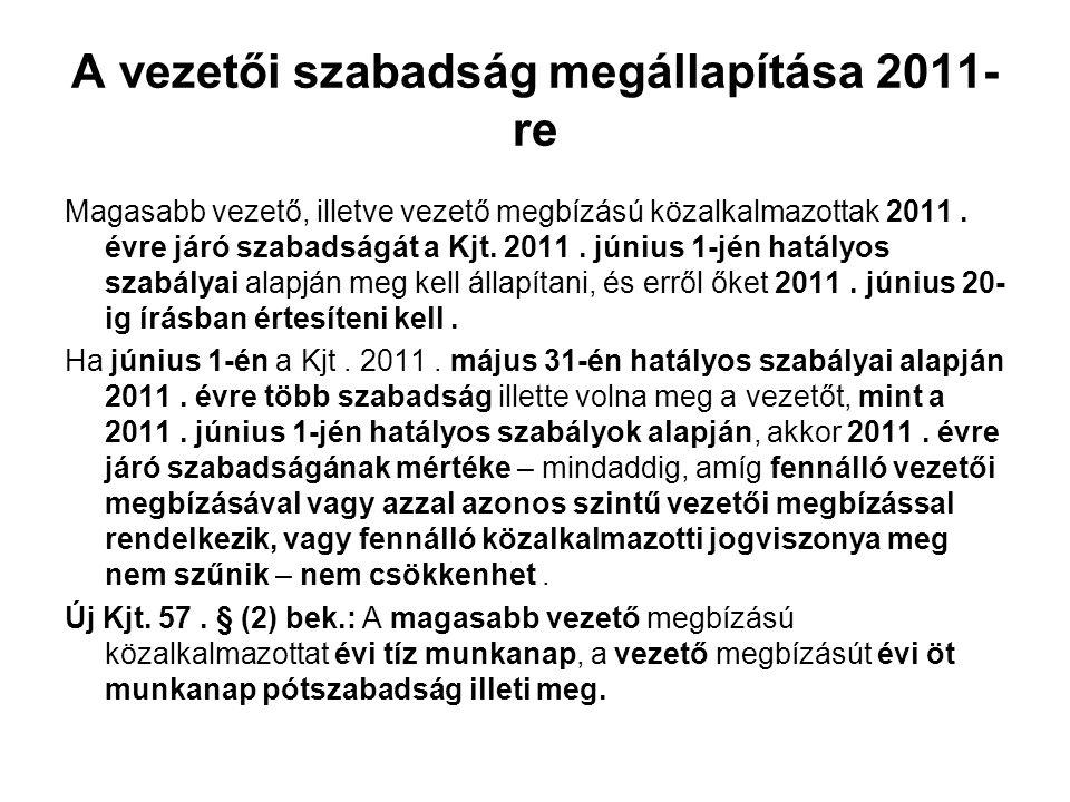 A vezetői szabadság megállapítása 2011-re