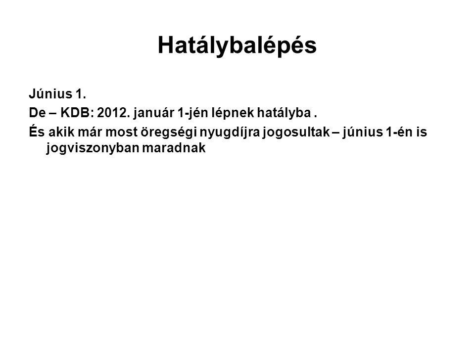 Hatálybalépés Június 1. De – KDB: 2012. január 1-jén lépnek hatályba .