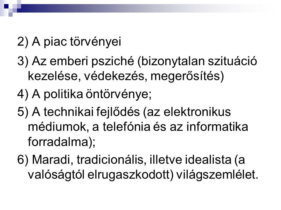 2) A piac törvényei 3) Az emberi psziché (bizonytalan szituáció kezelése, védekezés, megerősítés) 4) A politika öntörvénye;