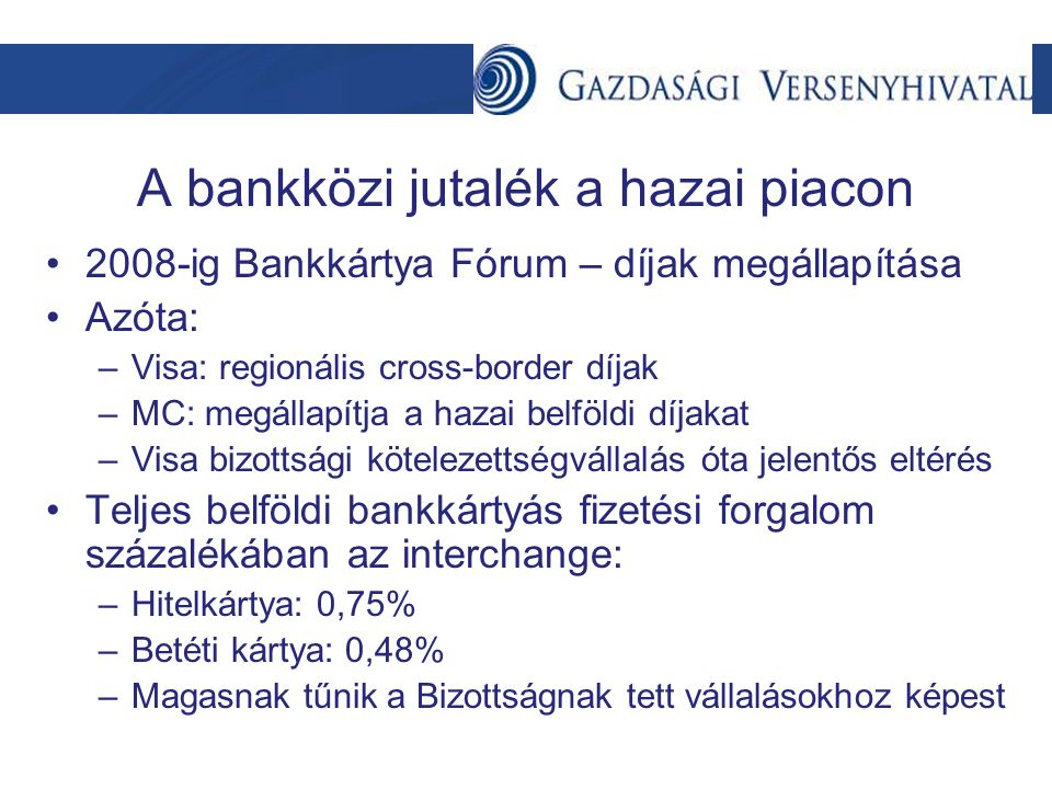 A bankközi jutalék a hazai piacon