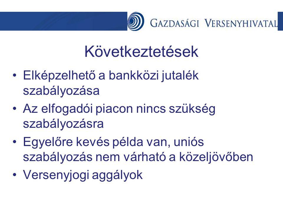 Következtetések Elképzelhető a bankközi jutalék szabályozása