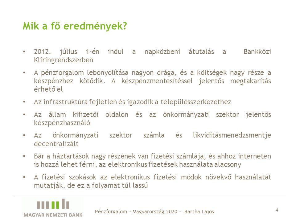 Mik a fő eredmények 2012. július 1-én indul a napközbeni átutalás a Bankközi Klíringrendszerben.