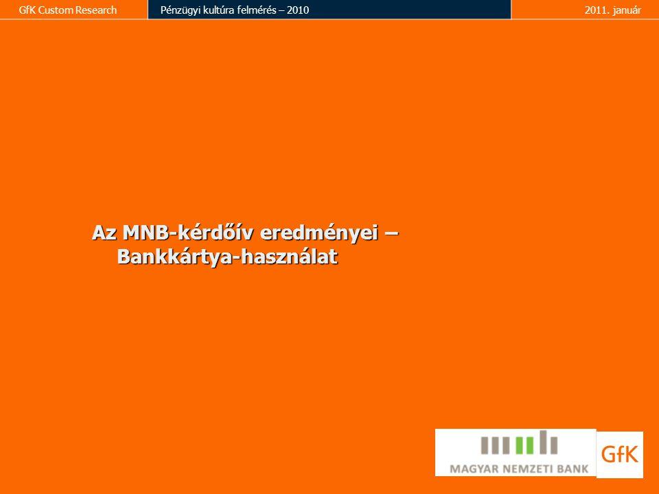 Az MNB-kérdőív eredményei – Bankkártya-használat