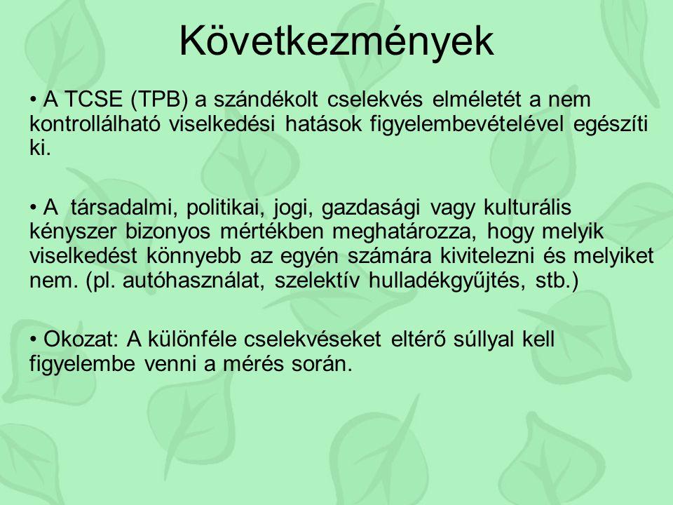 Következmények A TCSE (TPB) a szándékolt cselekvés elméletét a nem kontrollálható viselkedési hatások figyelembevételével egészíti ki.