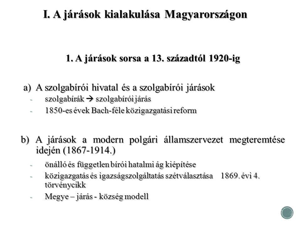 I. A járások kialakulása Magyarországon