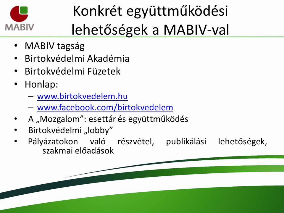 Konkrét együttműködési lehetőségek a MABIV-val