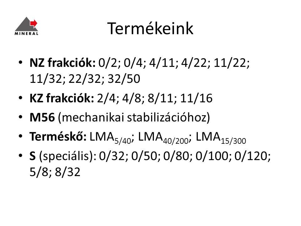 Termékeink NZ frakciók: 0/2; 0/4; 4/11; 4/22; 11/22; 11/32; 22/32; 32/50. KZ frakciók: 2/4; 4/8; 8/11; 11/16.