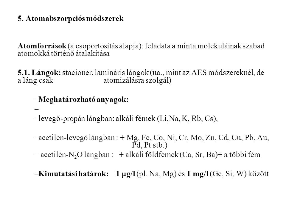 5. Atomabszorpciós módszerek