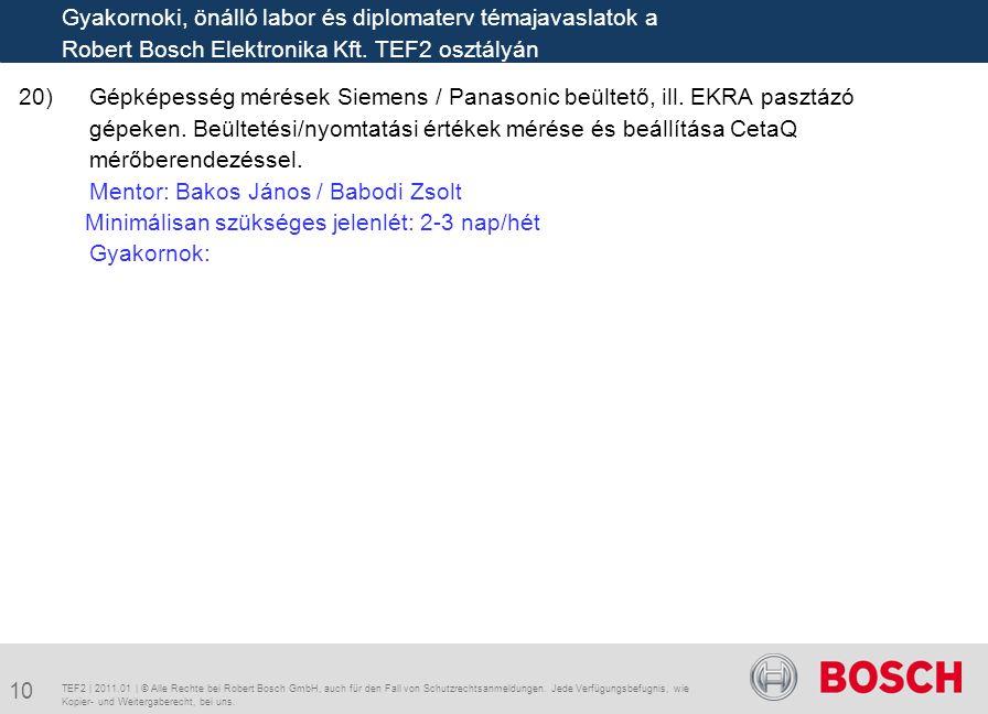 Mentor: Bakos János / Babodi Zsolt