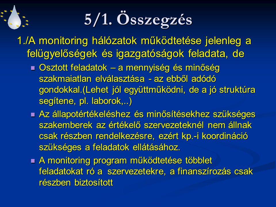 5/1. Összegzés 1./A monitoring hálózatok működtetése jelenleg a felügyelőségek és igazgatóságok feladata, de.