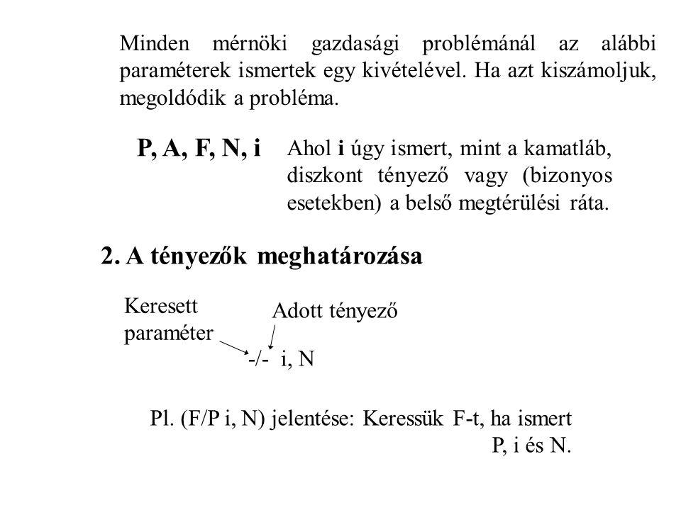 P, A, F, N, i 2. A tényezők meghatározása