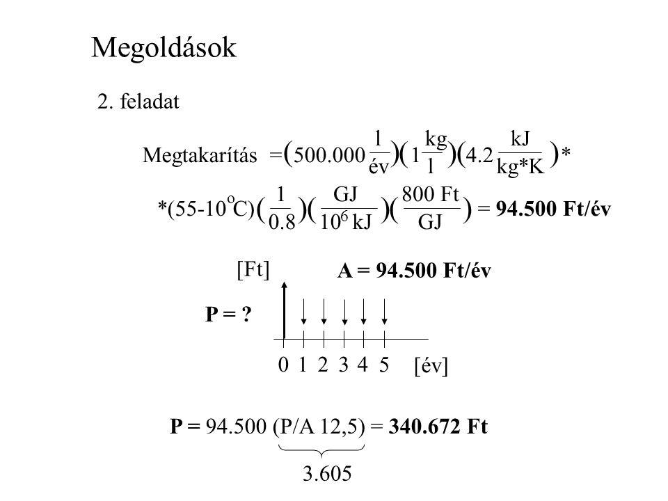 Megoldások ( ) ( ) ( ) ( ) ( ) ( ) 2. feladat l kg kJ