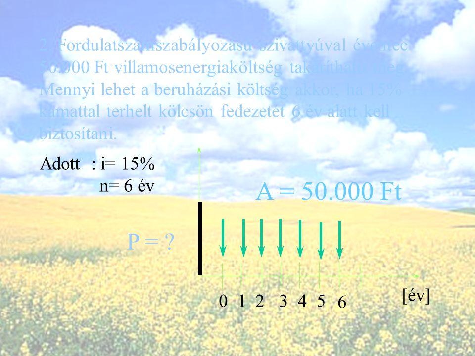 A = 50.000 Ft P = 2. Fordulatszámszabályozású szivattyúval éventee