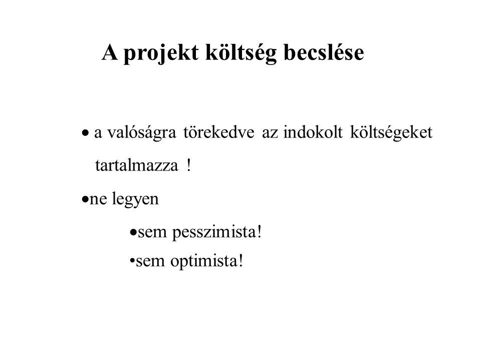 A projekt költség becslése