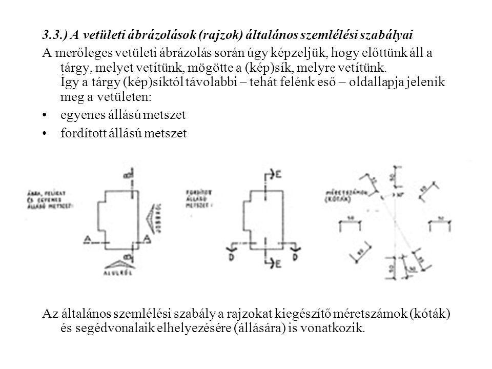 3.3.) A vetületi ábrázolások (rajzok) általános szemlélési szabályai