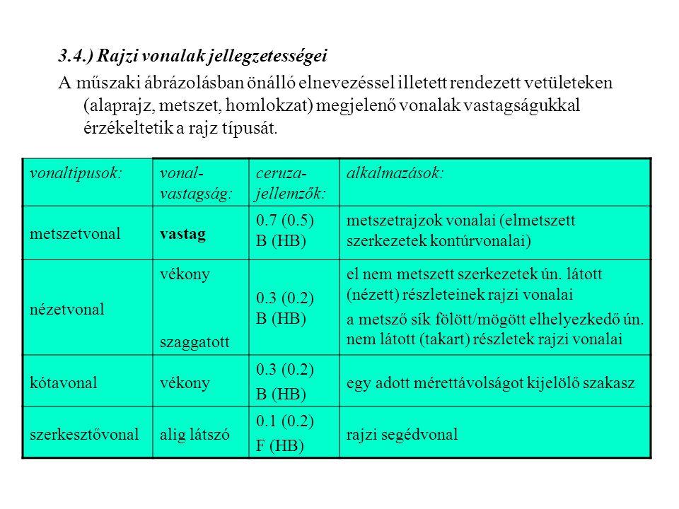 3.4.) Rajzi vonalak jellegzetességei