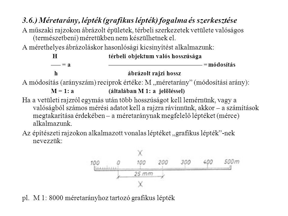 3.6.) Méretarány, lépték (grafikus lépték) fogalma és szerkesztése