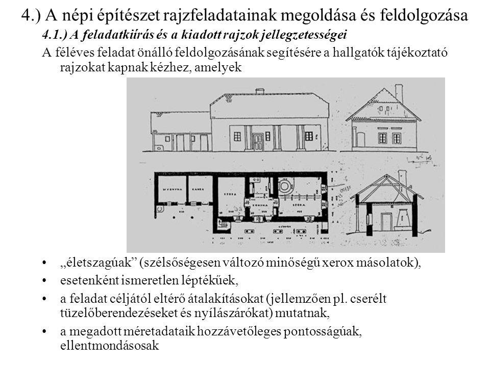 4.) A népi építészet rajzfeladatainak megoldása és feldolgozása