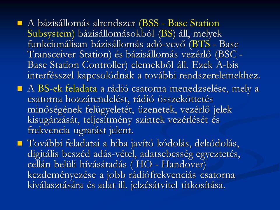 A bázisállomás alrendszer (BSS - Base Station Subsystem) bázisállomásokból (BS) áll, melyek funkcionálisan bázisállomás adó-vevő (BTS - Base Transceiver Station) és bázisállomás vezérlő (BSC - Base Station Controller) elemekből áll. Ezek A-bis interfésszel kapcsolódnak a további rendszerelemekhez.