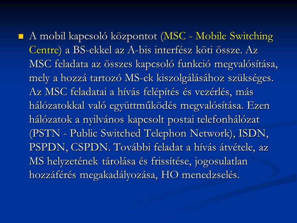 A mobil kapcsoló központot (MSC - Mobile Switching Centre) a BS-ekkel az A-bis interfész köti össze.