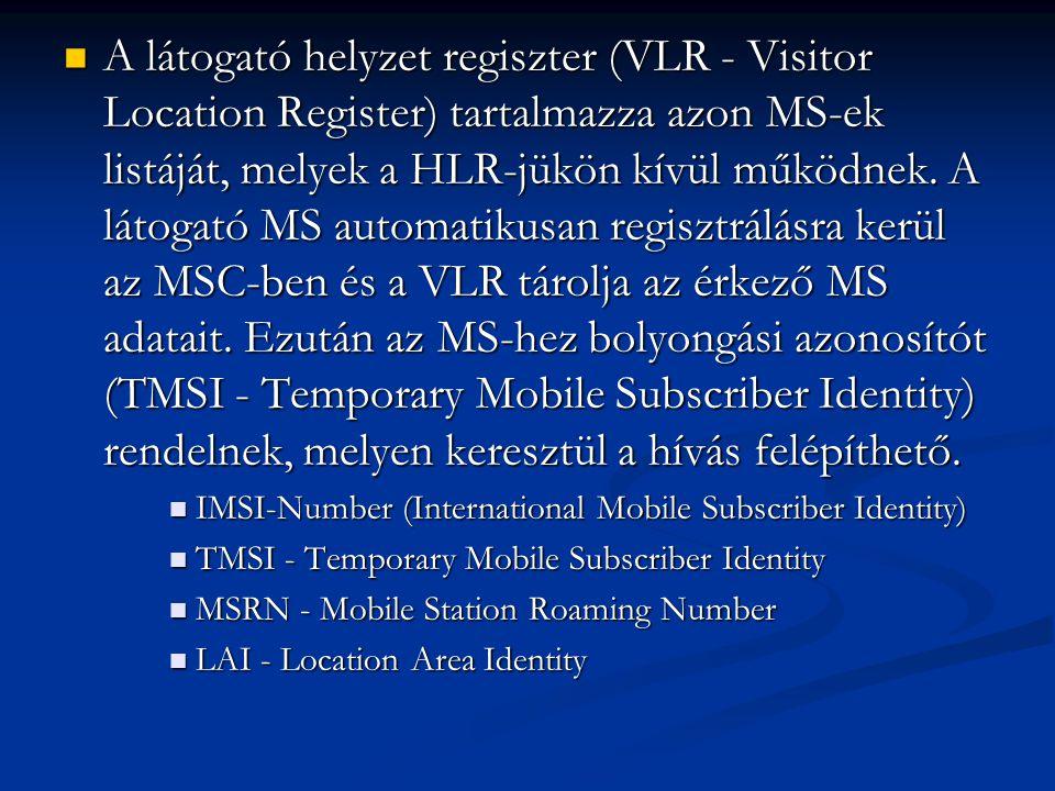 A látogató helyzet regiszter (VLR - Visitor Location Register) tartalmazza azon MS-ek listáját, melyek a HLR-jükön kívül működnek. A látogató MS automatikusan regisztrálásra kerül az MSC-ben és a VLR tárolja az érkező MS adatait. Ezután az MS-hez bolyongási azonosítót (TMSI - Temporary Mobile Subscriber Identity) rendelnek, melyen keresztül a hívás felépíthető.