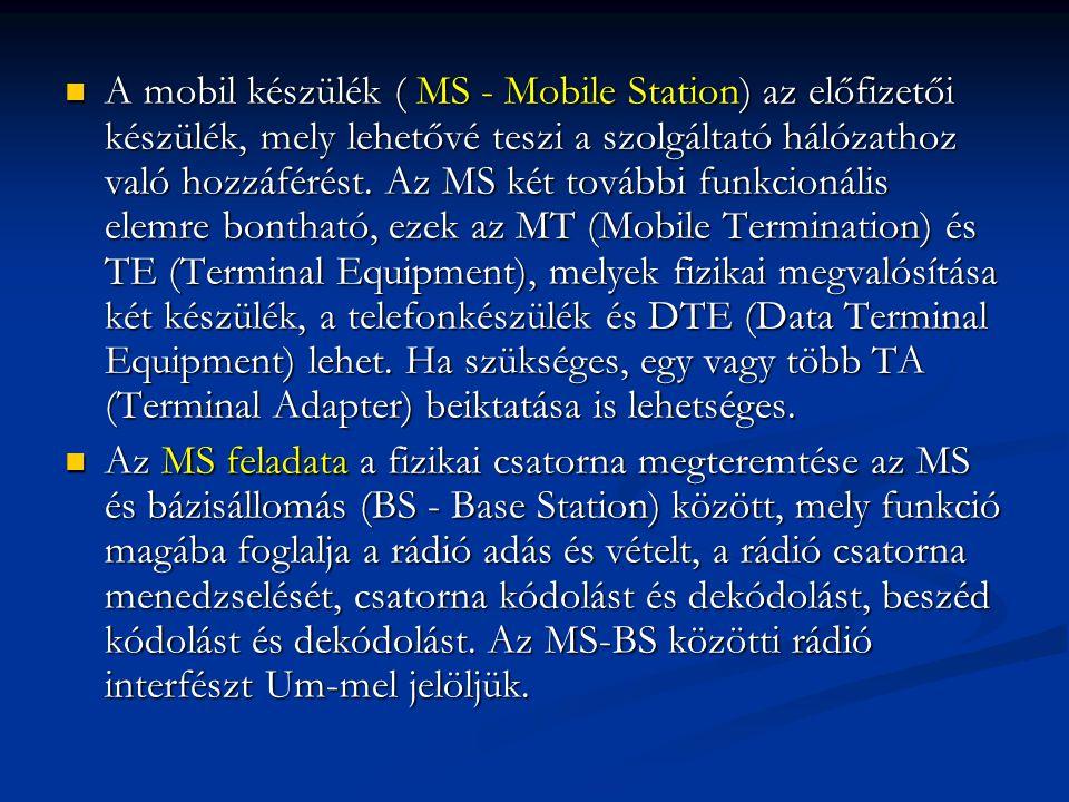 A mobil készülék ( MS - Mobile Station) az előfizetői készülék, mely lehetővé teszi a szolgáltató hálózathoz való hozzáférést. Az MS két további funkcionális elemre bontható, ezek az MT (Mobile Termination) és TE (Terminal Equipment), melyek fizikai megvalósítása két készülék, a telefonkészülék és DTE (Data Terminal Equipment) lehet. Ha szükséges, egy vagy több TA (Terminal Adapter) beiktatása is lehetséges.