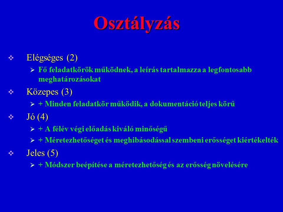 Osztályzás Elégséges (2) Közepes (3) Jó (4) Jeles (5)