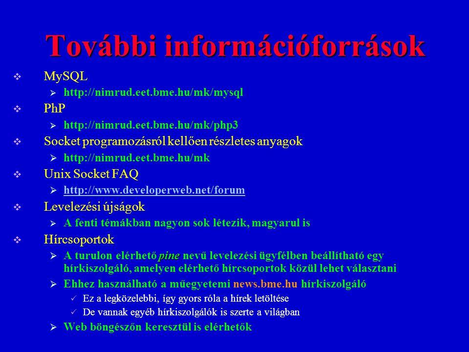 További információforrások