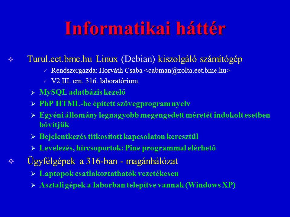 Informatikai háttér Turul.eet.bme.hu Linux (Debian) kiszolgáló számítógép. Rendszergazda: Horváth Csaba <cabman@zolta.eet.bme.hu>