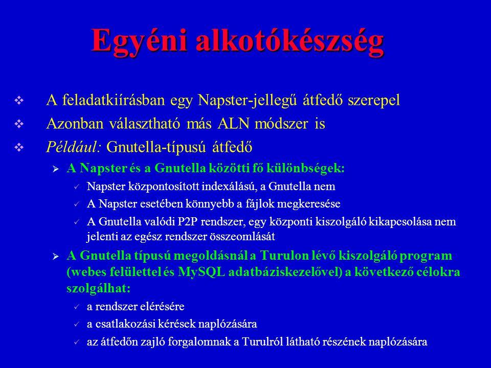 Egyéni alkotókészség A feladatkiírásban egy Napster-jellegű átfedő szerepel. Azonban választható más ALN módszer is.