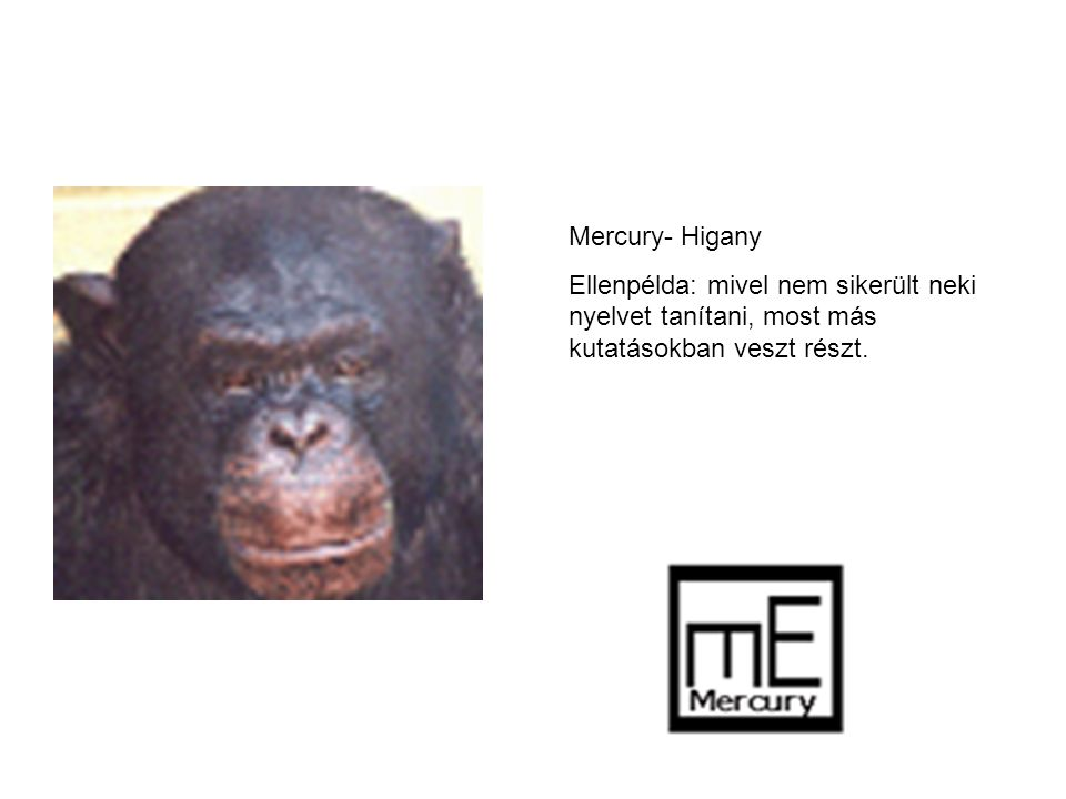 Mercury- Higany Ellenpélda: mivel nem sikerült neki nyelvet tanítani, most más kutatásokban veszt részt.