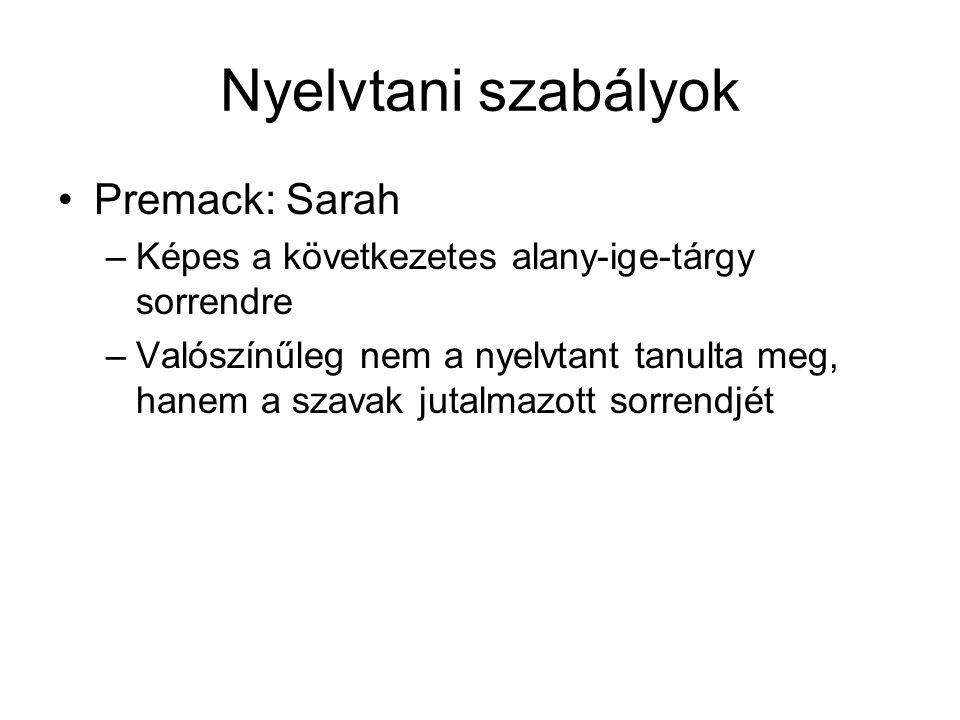 Nyelvtani szabályok Premack: Sarah