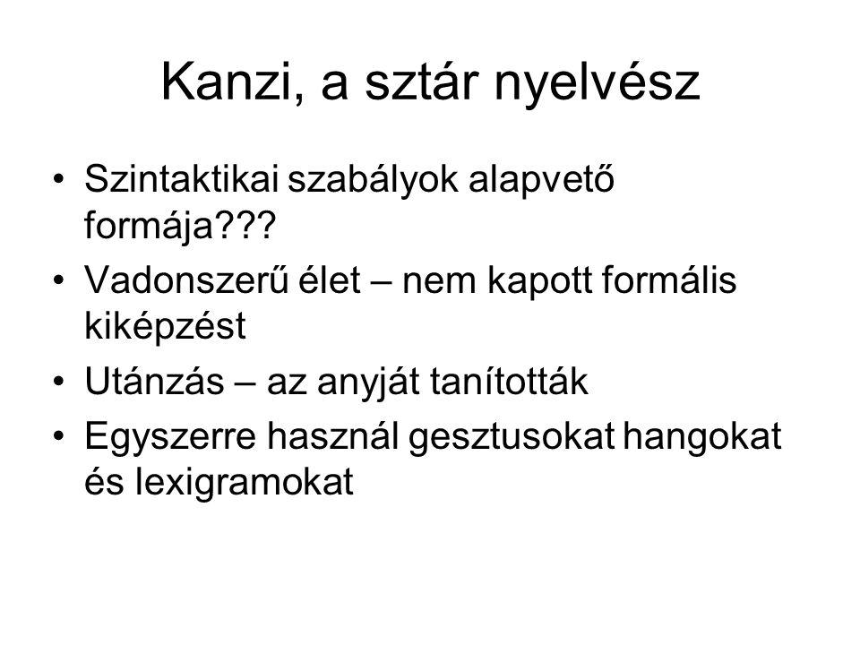 Kanzi, a sztár nyelvész Szintaktikai szabályok alapvető formája