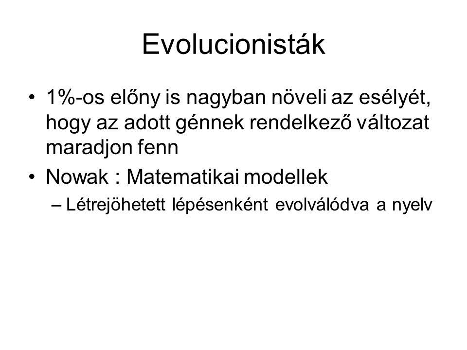 Evolucionisták 1%-os előny is nagyban növeli az esélyét, hogy az adott génnek rendelkező változat maradjon fenn.