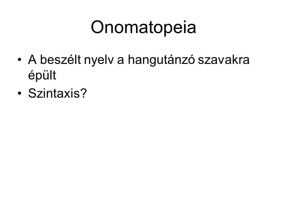 Onomatopeia A beszélt nyelv a hangutánzó szavakra épült Szintaxis