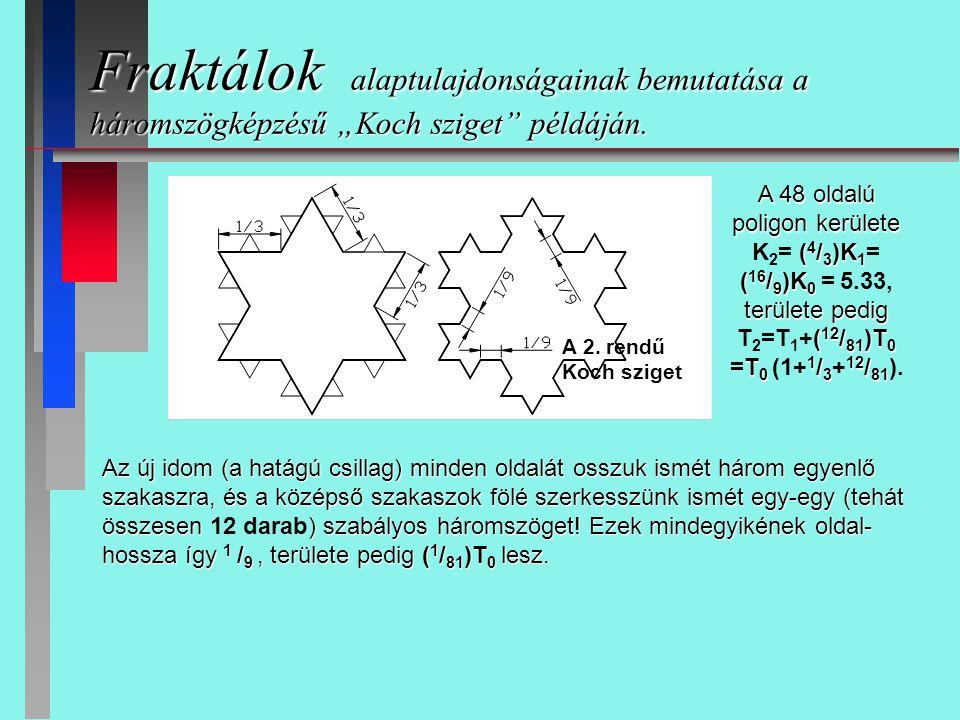 """Fraktálok alaptulajdonságainak bemutatása a háromszögképzésű """"Koch sziget példáján."""