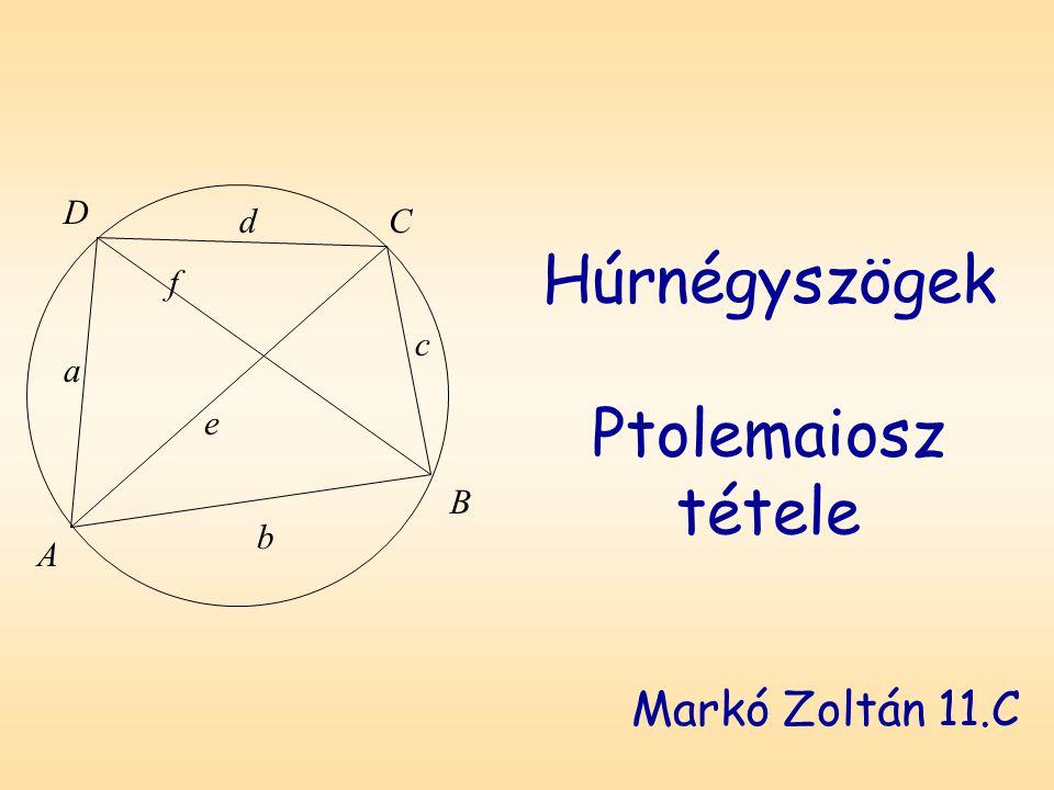 Húrnégyszögek Ptolemaiosz tétele