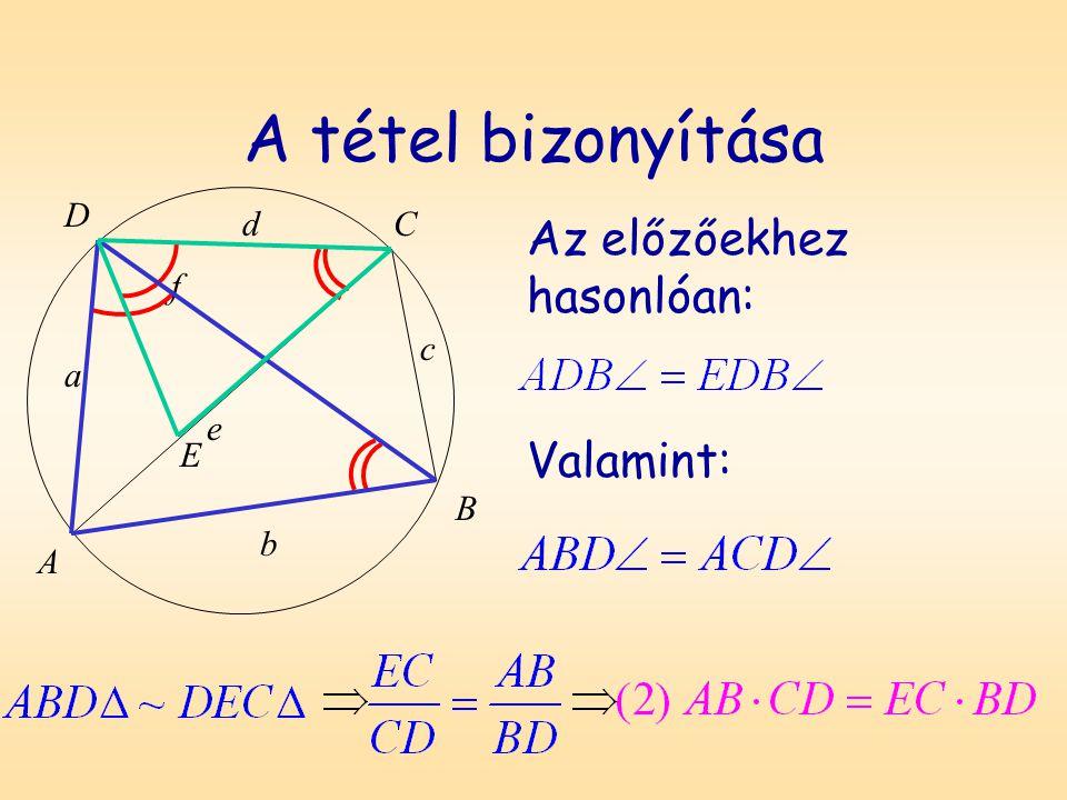 A tétel bizonyítása Az előzőekhez hasonlóan: Valamint: D A B C a b c d