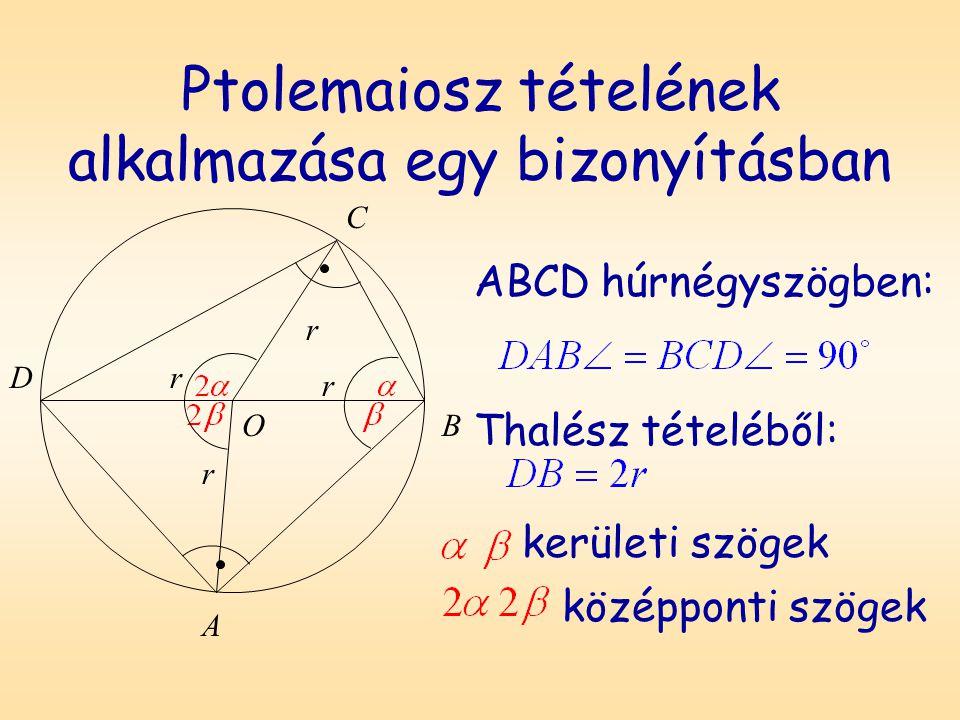 Ptolemaiosz tételének alkalmazása egy bizonyításban