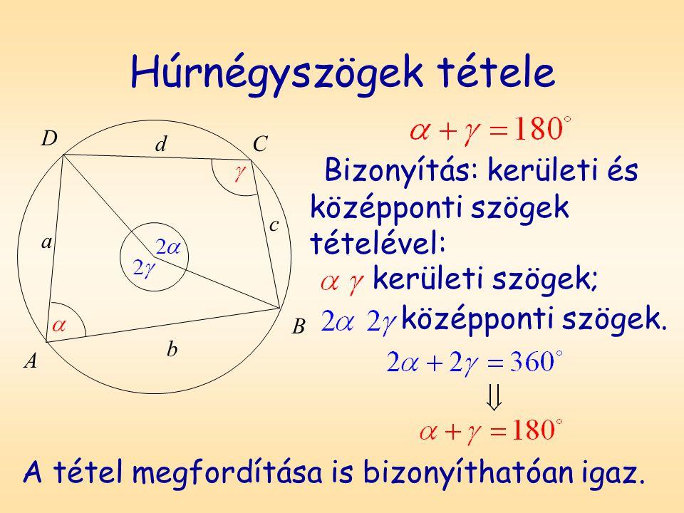 Húrnégyszögek tétele D. A. B. C. a. b. c. d. Bizonyítás: kerületi és középponti szögek tételével:
