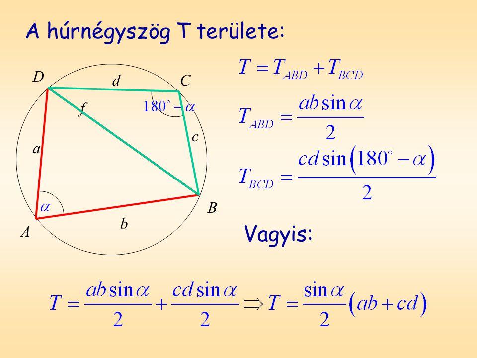A húrnégyszög T területe: