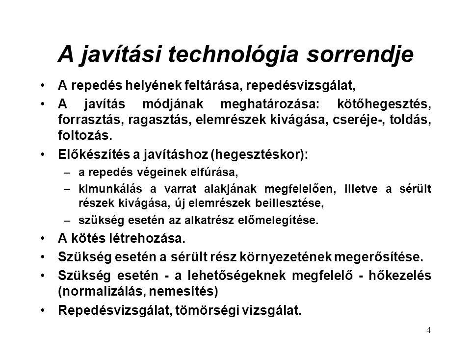 A javítási technológia sorrendje