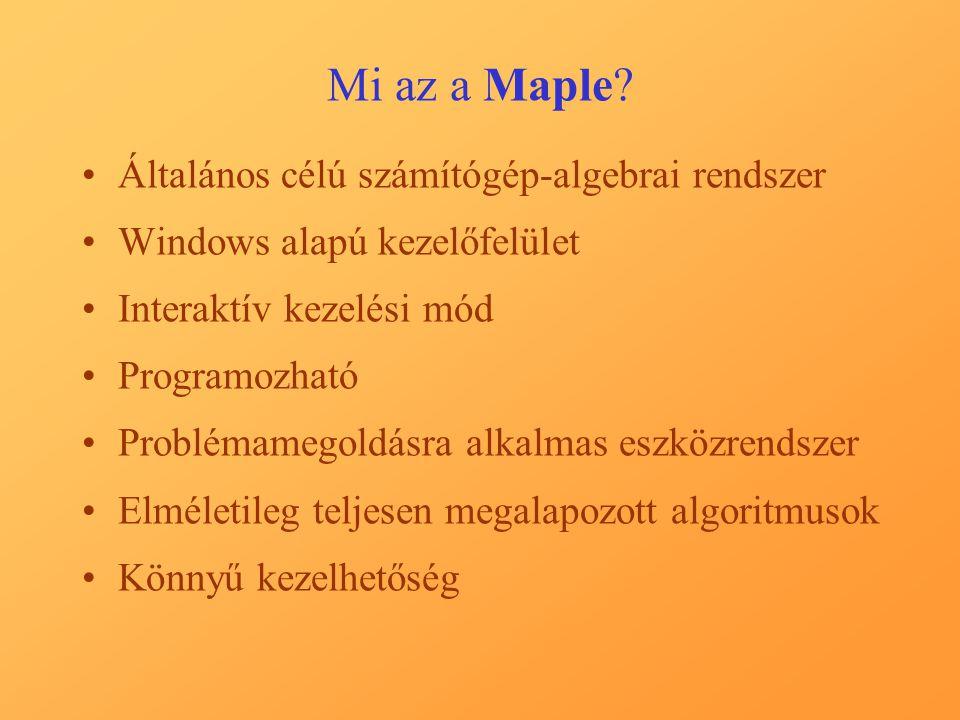 Mi az a Maple Általános célú számítógép-algebrai rendszer