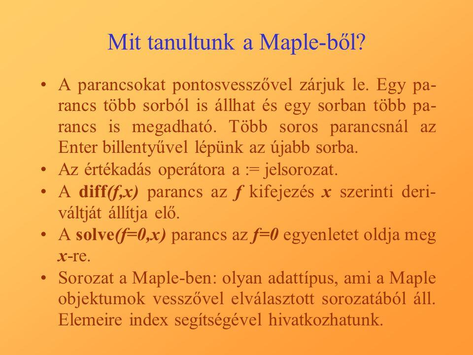 Mit tanultunk a Maple-ből
