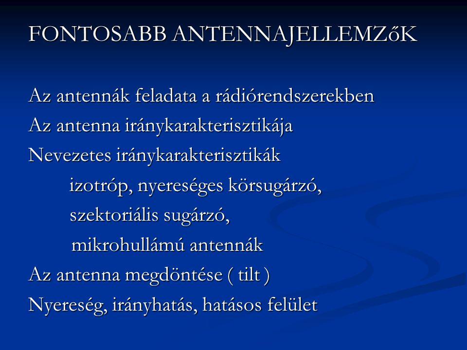 FONTOSABB ANTENNAJELLEMZőK