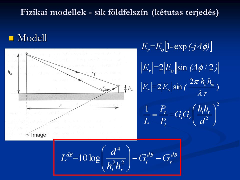 Fizikai modellek - sík földfelszín (kétutas terjedés)