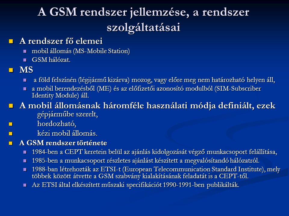 A GSM rendszer jellemzése, a rendszer szolgáltatásai