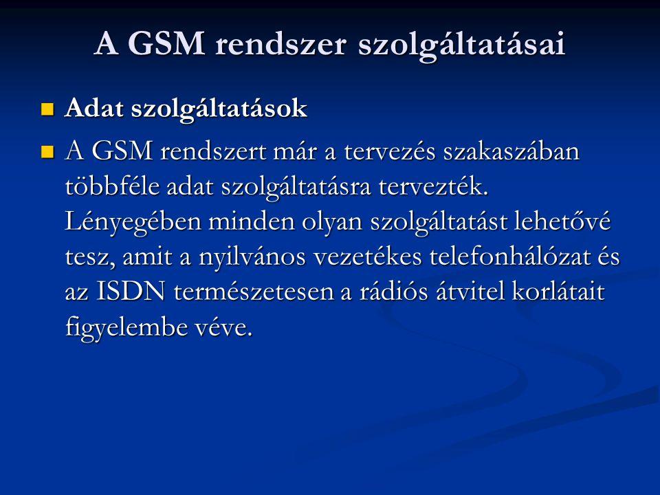 A GSM rendszer szolgáltatásai