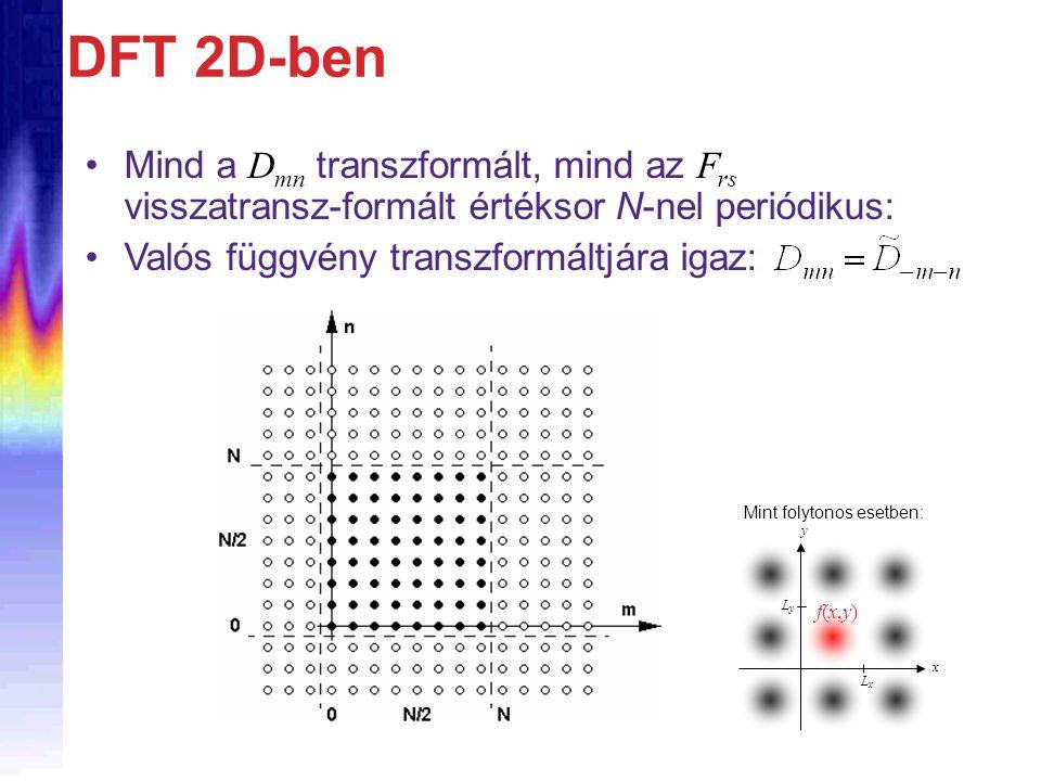 DFT 2D-ben Mind a Dmn transzformált, mind az Frs visszatransz-formált értéksor N-nel periódikus: Valós függvény transzformáltjára igaz: